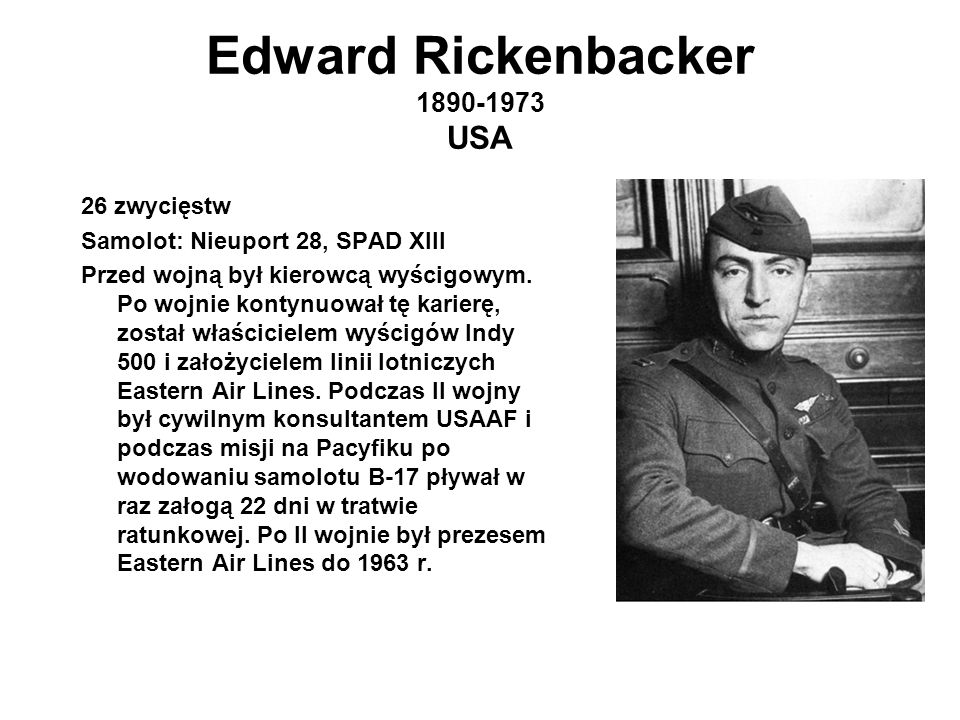 Edward Rickenbacker 1890-1973 USA