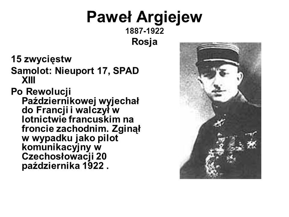 Paweł Argiejew 1887-1922 Rosja 15 zwycięstw