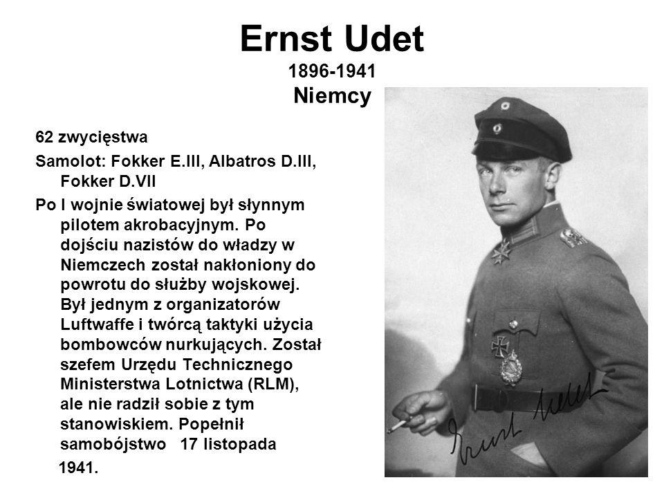 Ernst Udet 1896-1941 Niemcy 62 zwycięstwa