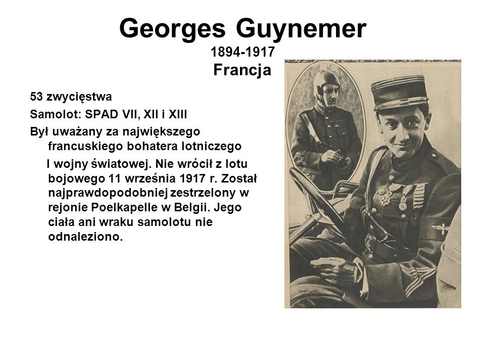 Georges Guynemer 1894-1917 Francja