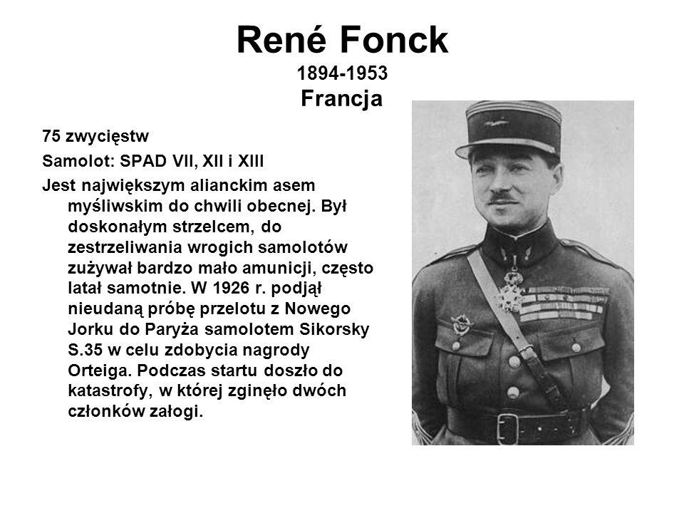 René Fonck 1894-1953 Francja 75 zwycięstw