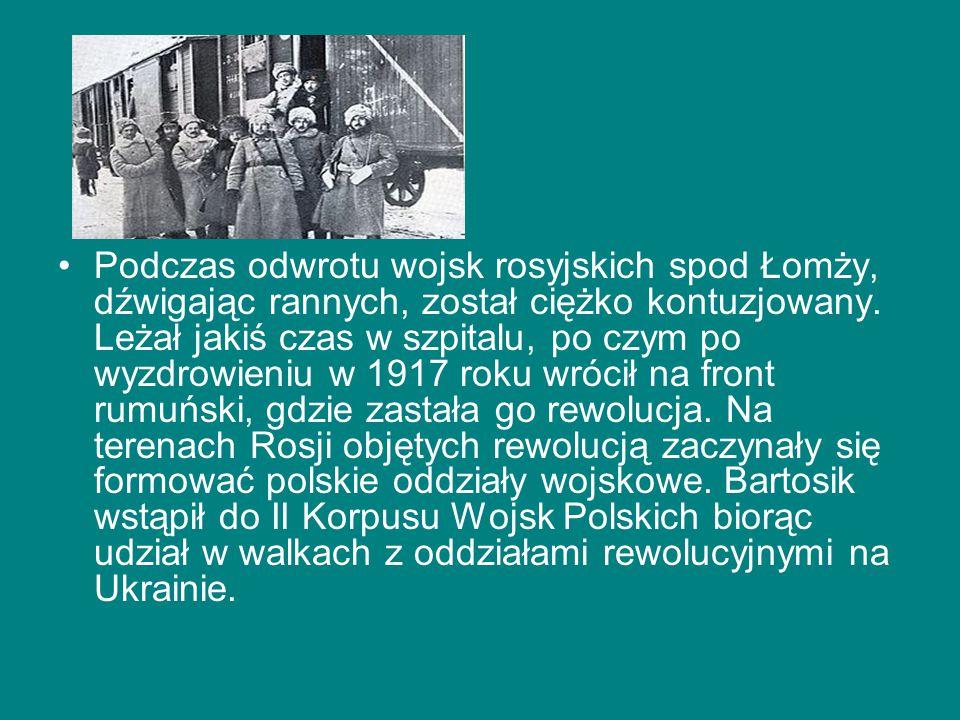 Podczas odwrotu wojsk rosyjskich spod Łomży, dźwigając rannych, został ciężko kontuzjowany.