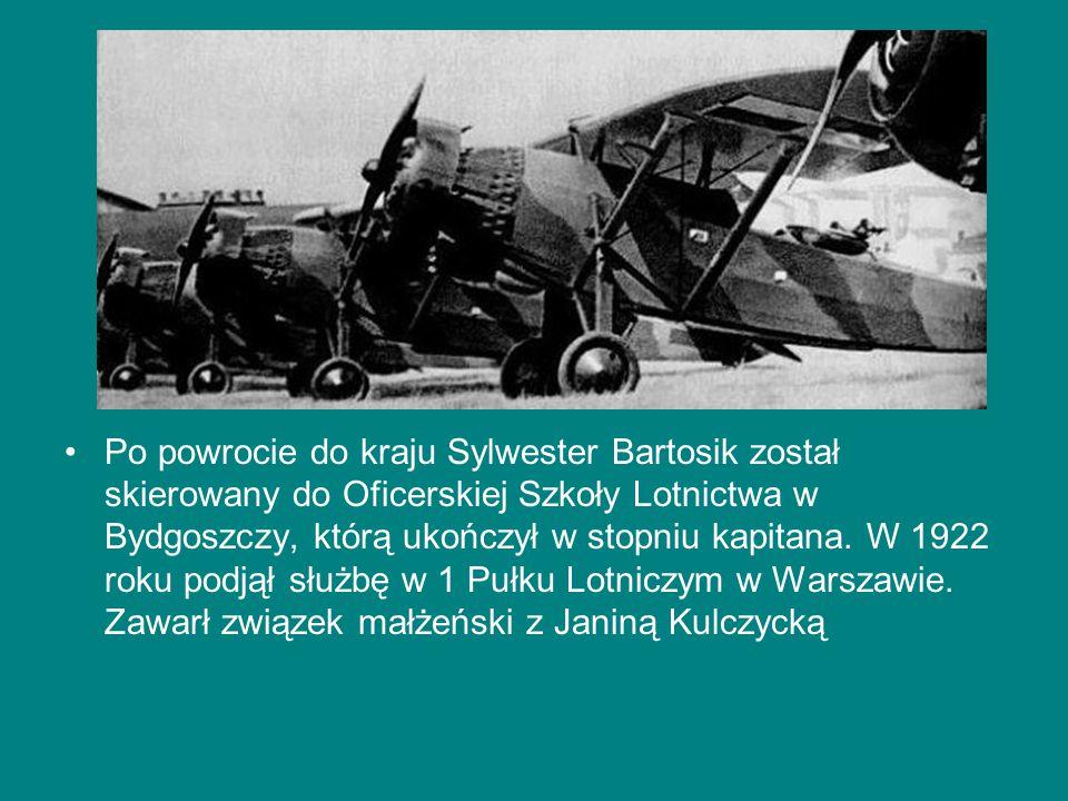 Po powrocie do kraju Sylwester Bartosik został skierowany do Oficerskiej Szkoły Lotnictwa w Bydgoszczy, którą ukończył w stopniu kapitana.