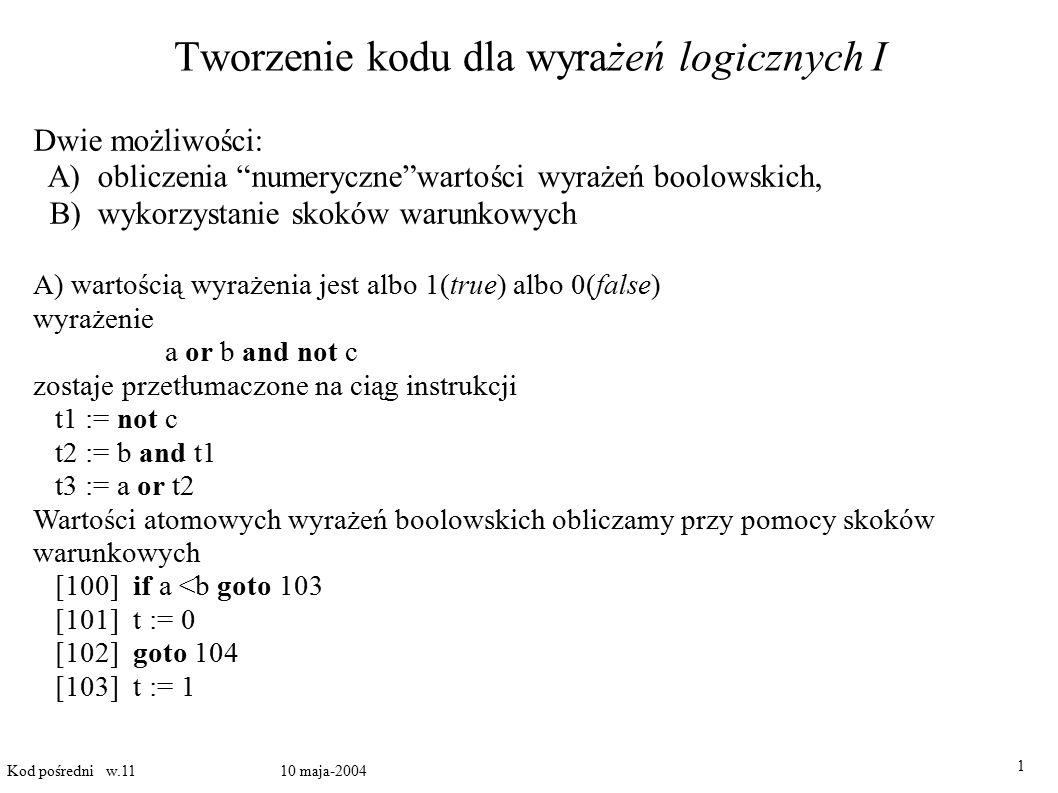 Tworzenie kodu dla wyrażeń logicznych I