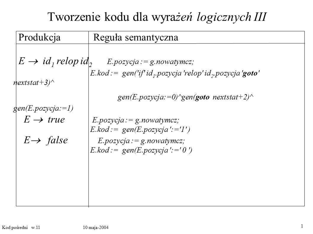 Tworzenie kodu dla wyrażeń logicznych III