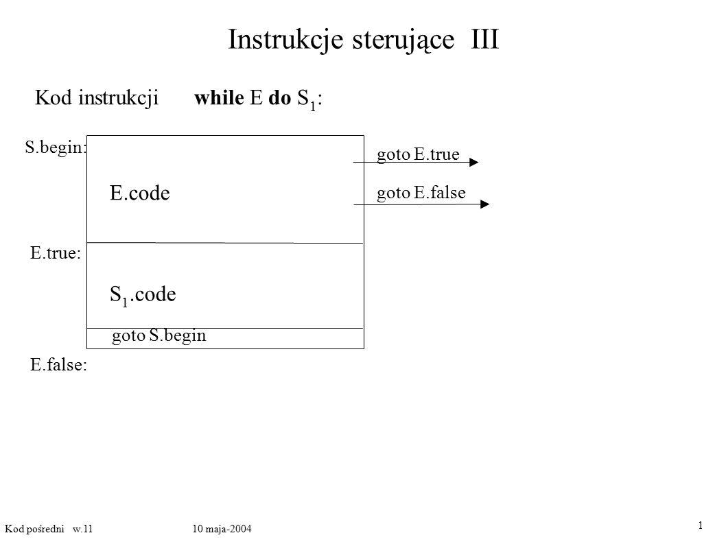 Instrukcje sterujące III