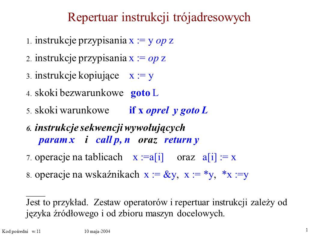 Repertuar instrukcji trójadresowych