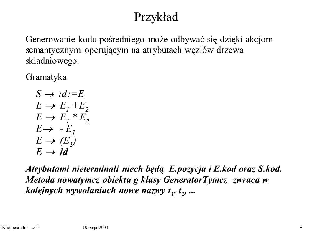 Przykład S  id:=E E  E1 +E2 E  E1 * E2 E - E1 E  (E1) E  id