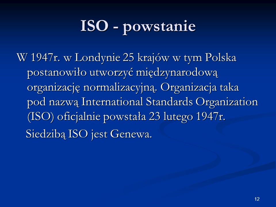 ISO - powstanie