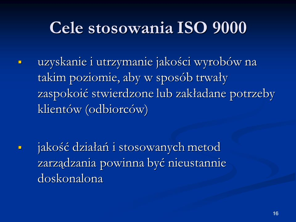 Cele stosowania ISO 9000