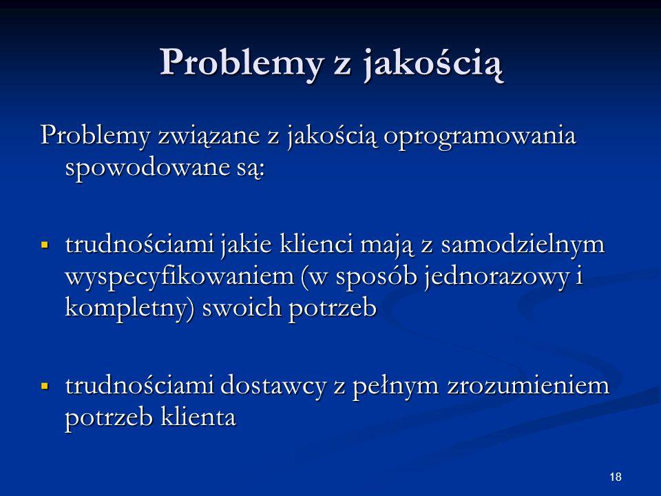 Problemy z jakością Problemy związane z jakością oprogramowania spowodowane są: