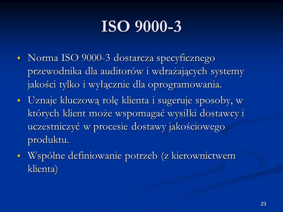 ISO 9000-3 Norma ISO 9000-3 dostarcza specyficznego przewodnika dla auditorów i wdrażających systemy jakości tylko i wyłącznie dla oprogramowania.