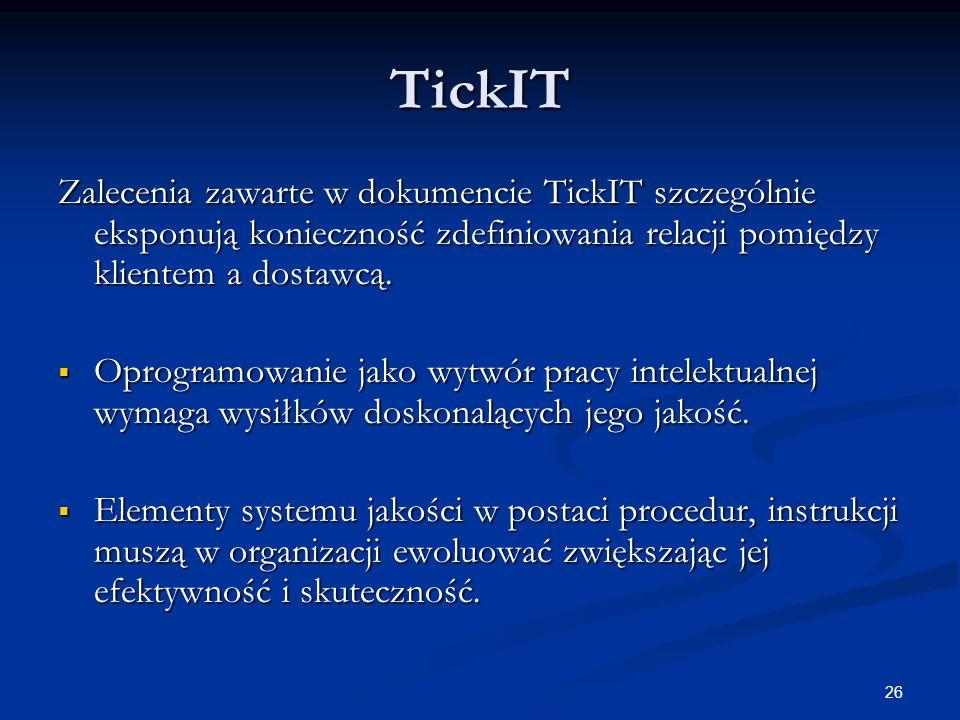 TickIT Zalecenia zawarte w dokumencie TickIT szczególnie eksponują konieczność zdefiniowania relacji pomiędzy klientem a dostawcą.