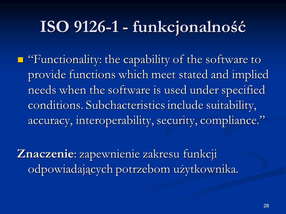 ISO 9126-1 - funkcjonalność