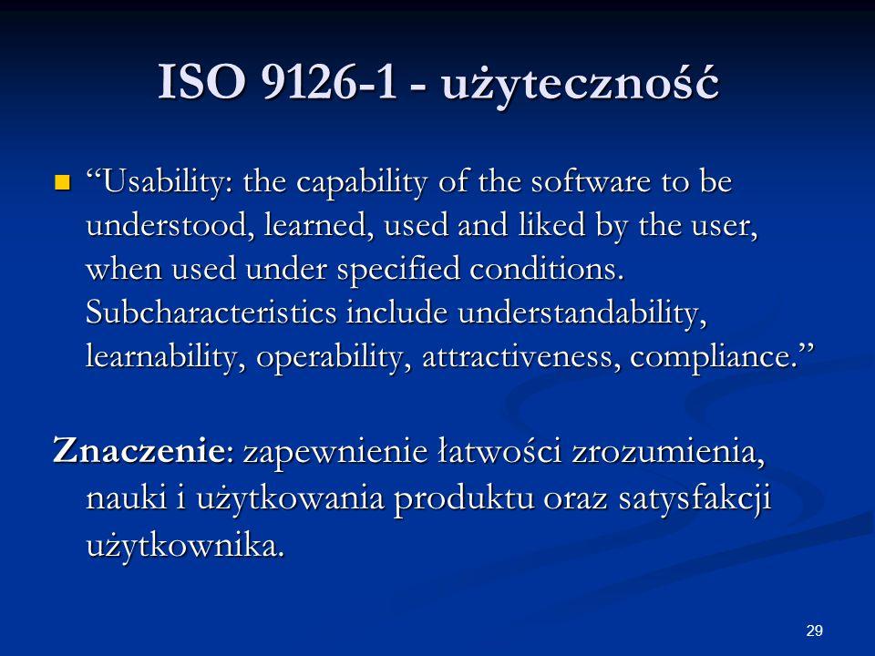 ISO 9126-1 - użyteczność