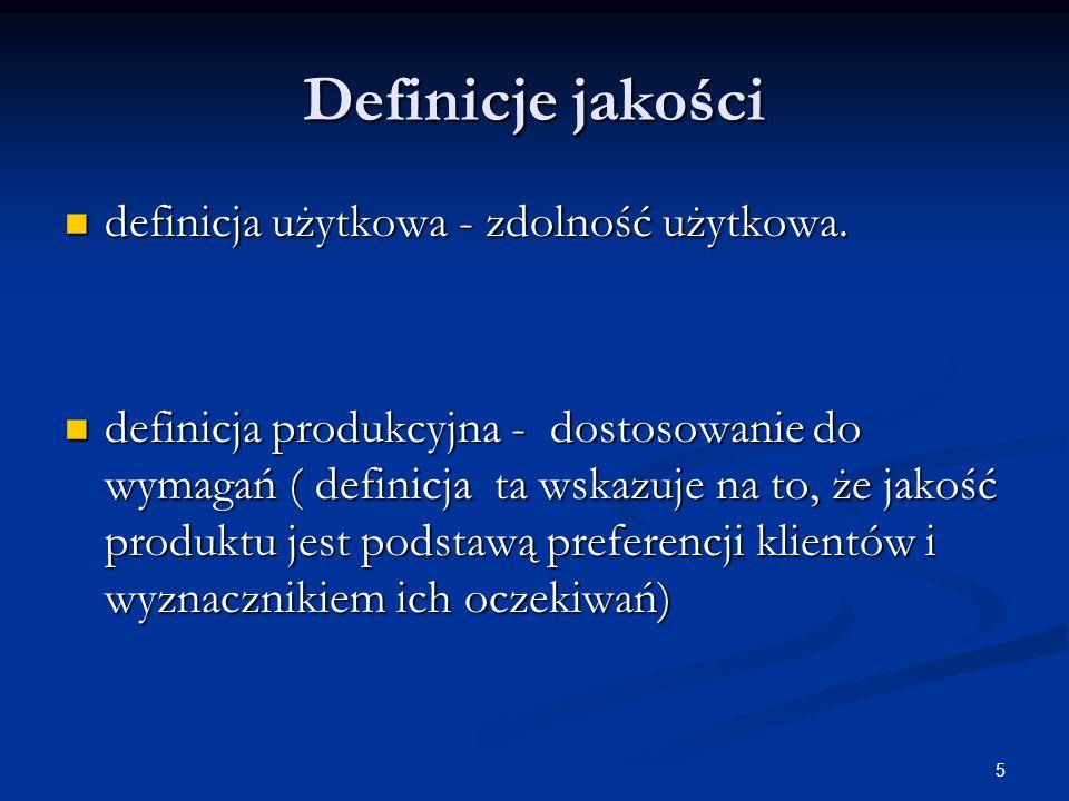 Definicje jakości definicja użytkowa - zdolność użytkowa.