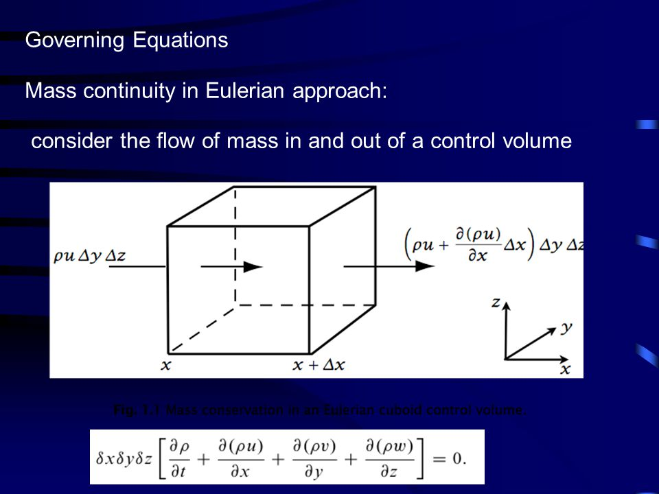 Governing Equations Mass continuity in Eulerian approach: consider the flow of mass in and out of a control volume.