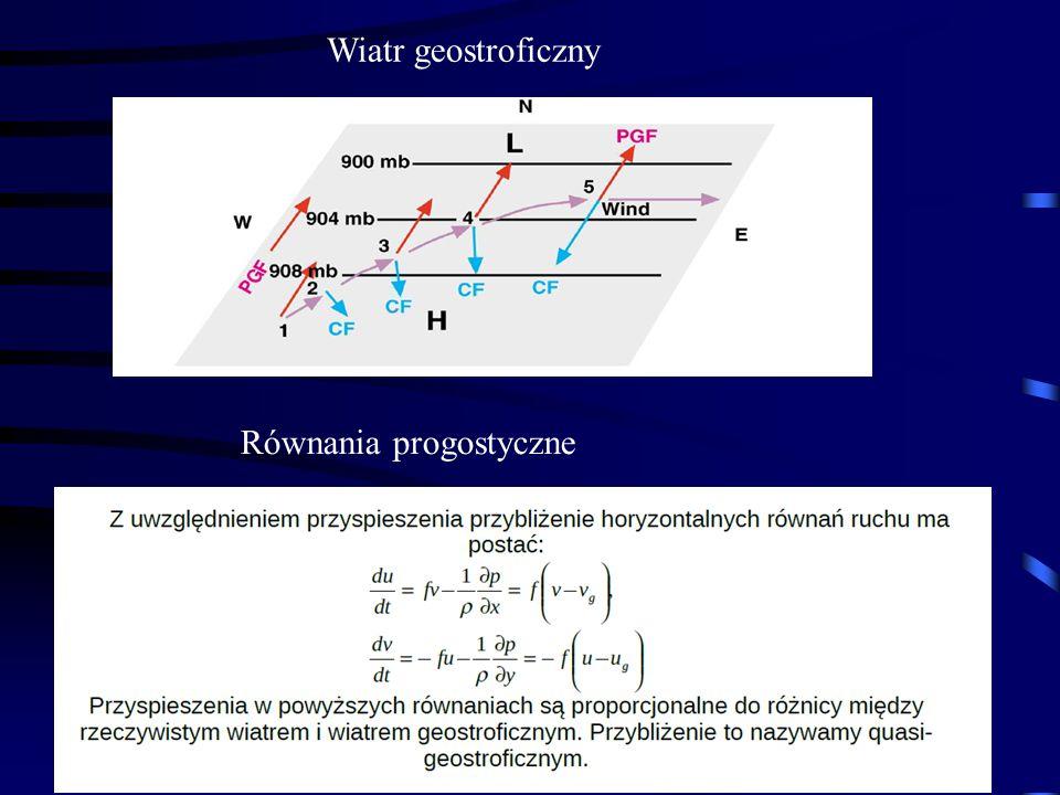 Wiatr geostroficzny Równania progostyczne