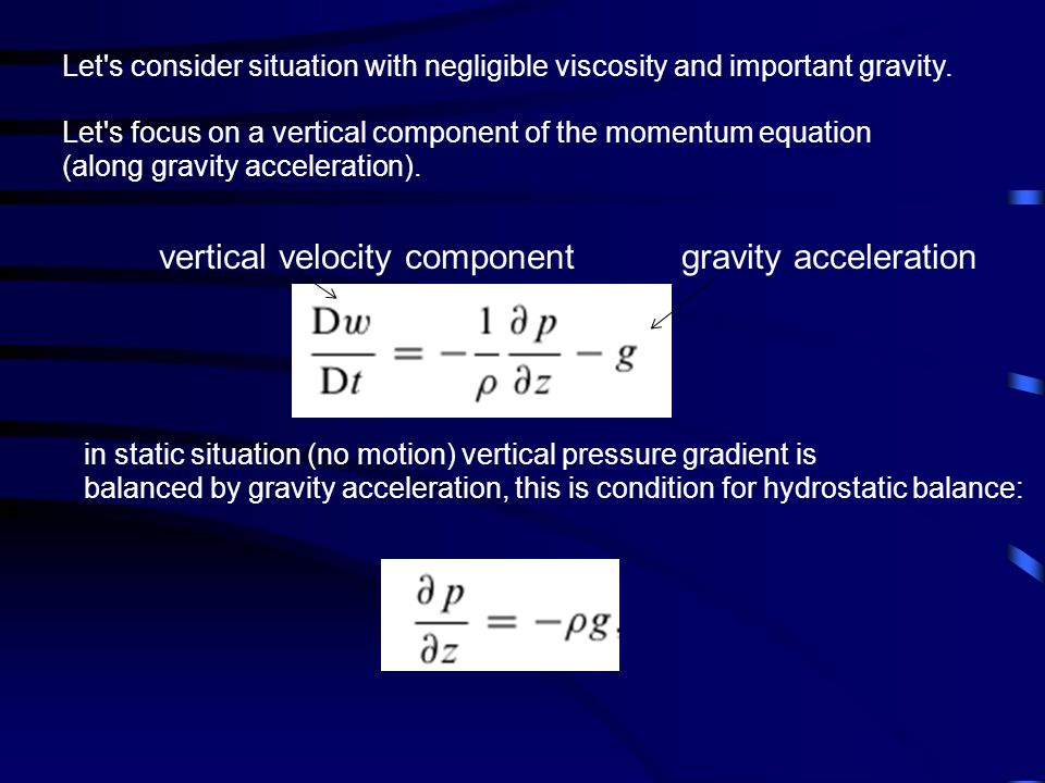 vertical velocity component gravity acceleration