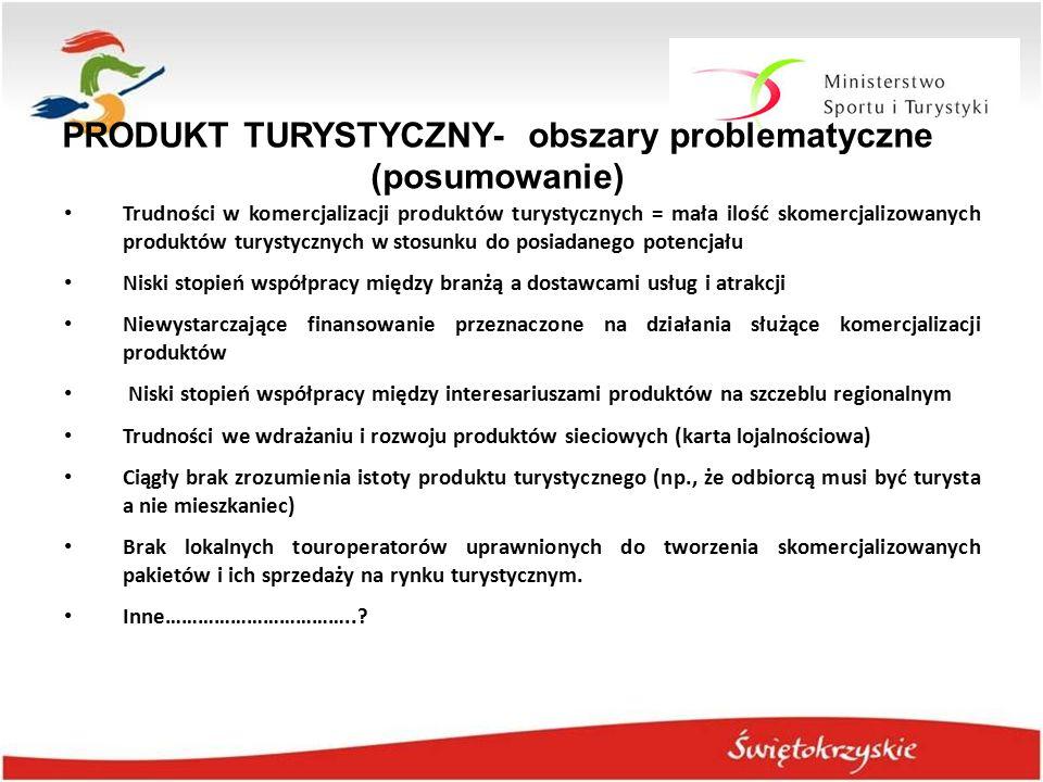 PRODUKT TURYSTYCZNY- obszary problematyczne (posumowanie)