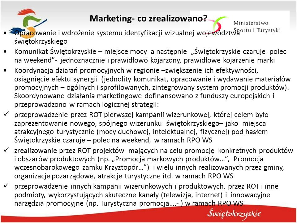 Marketing- co zrealizowano