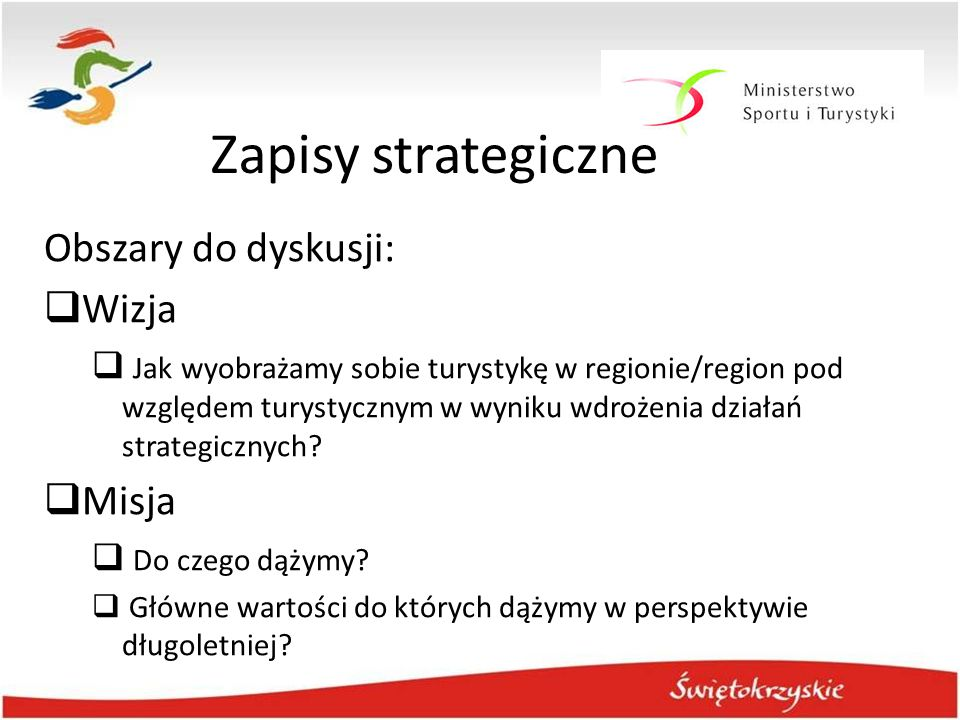 Zapisy strategiczne Obszary do dyskusji: Wizja Misja