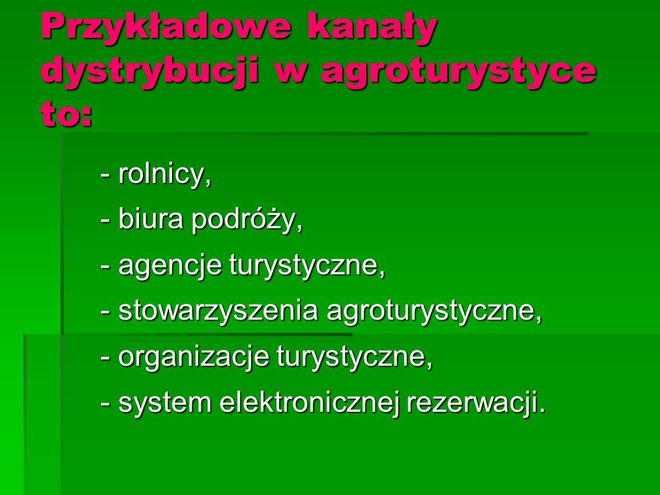 Przykładowe kanały dystrybucji w agroturystyce to: