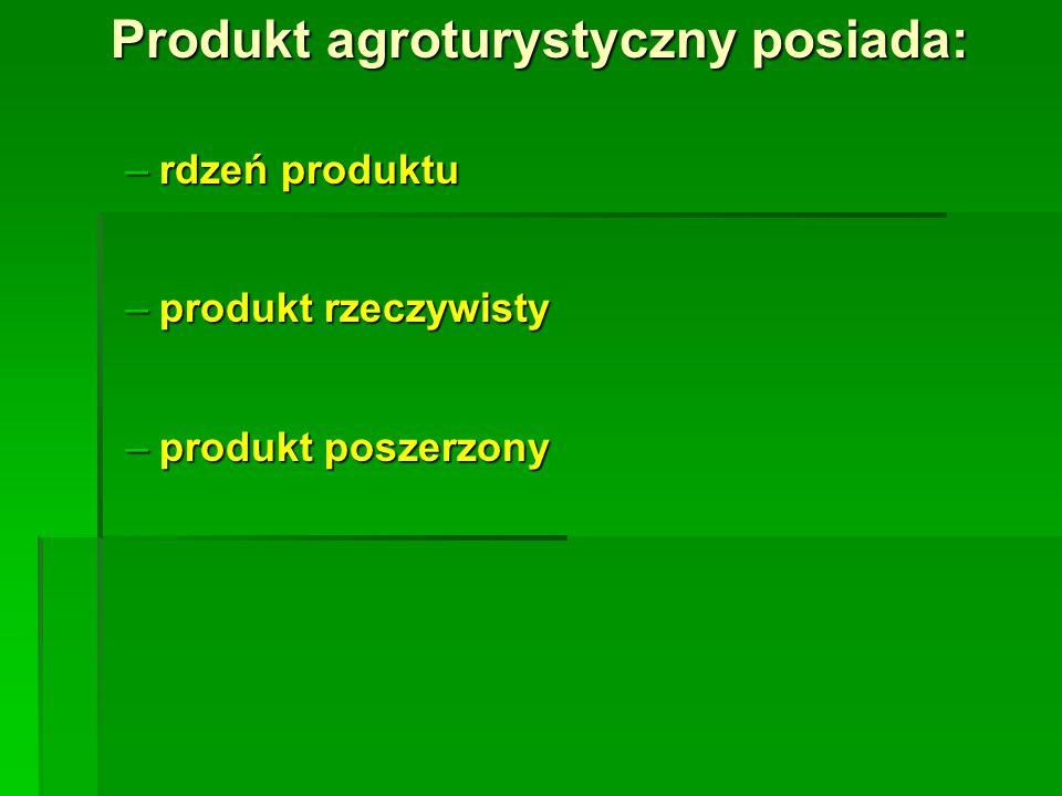 Produkt agroturystyczny posiada: