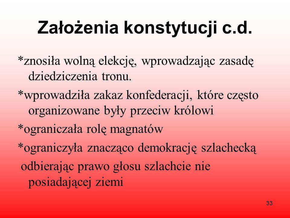 Założenia konstytucji c.d.