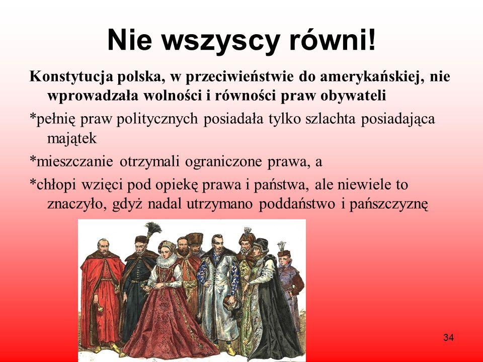 Nie wszyscy równi! Konstytucja polska, w przeciwieństwie do amerykańskiej, nie wprowadzała wolności i równości praw obywateli.