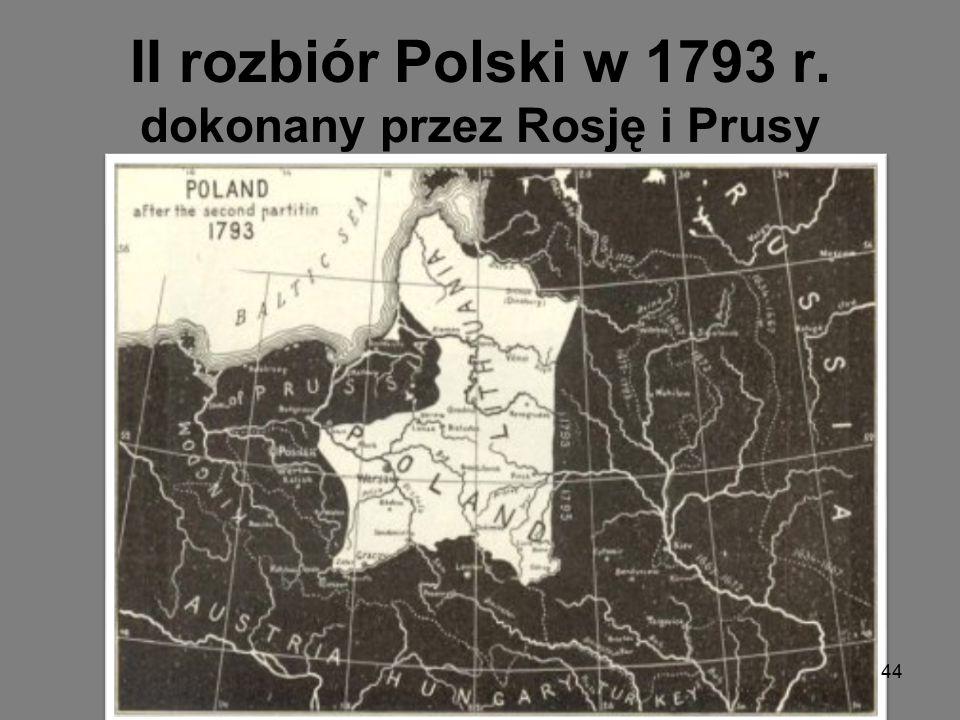 II rozbiór Polski w 1793 r. dokonany przez Rosję i Prusy