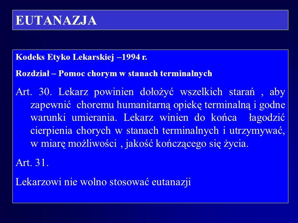 EUTANAZJA Kodeks Etyko Lekarskiej –1994 r. Rozdział – Pomoc chorym w stanach terminalnych.