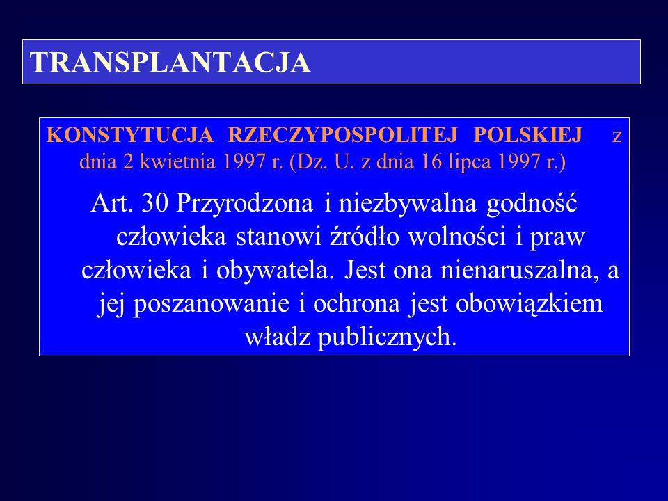TRANSPLANTACJA KONSTYTUCJA RZECZYPOSPOLITEJ POLSKIEJ z dnia 2 kwietnia 1997 r. (Dz. U. z dnia 16 lipca 1997 r.)
