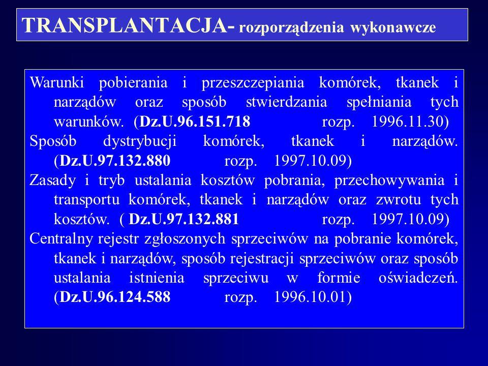 TRANSPLANTACJA- rozporządzenia wykonawcze
