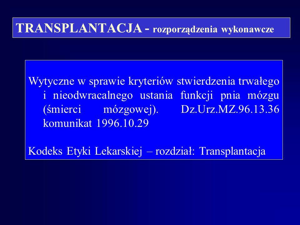 TRANSPLANTACJA - rozporządzenia wykonawcze