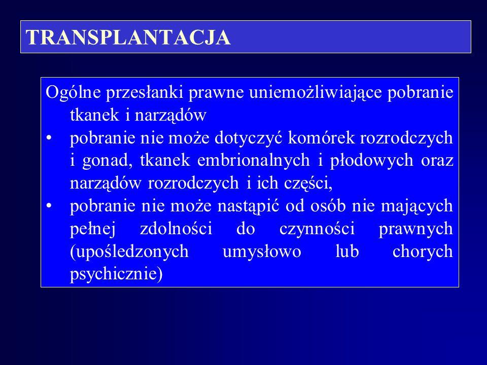 TRANSPLANTACJA Ogólne przesłanki prawne uniemożliwiające pobranie tkanek i narządów.
