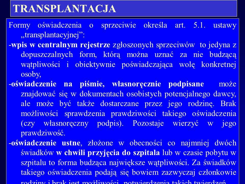 """TRANSPLANTACJA Formy oświadczenia o sprzeciwie określa art. 5.1. ustawy """"transplantacyjnej :"""