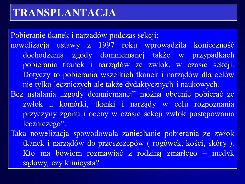TRANSPLANTACJA Pobieranie tkanek i narządów podczas sekcji: