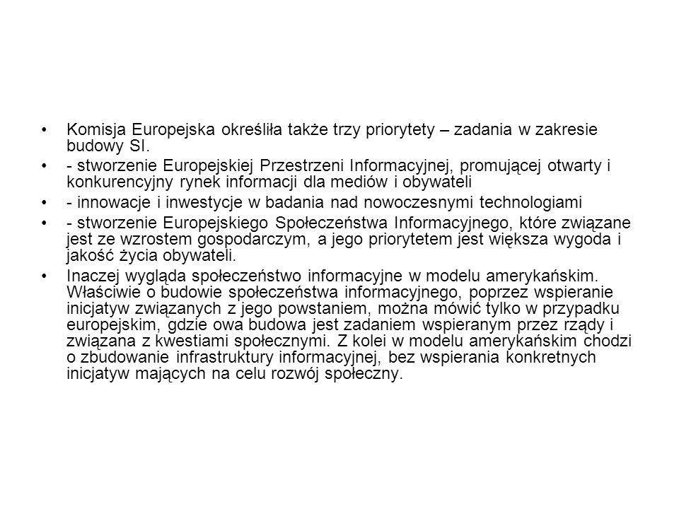 Komisja Europejska określiła także trzy priorytety – zadania w zakresie budowy SI.