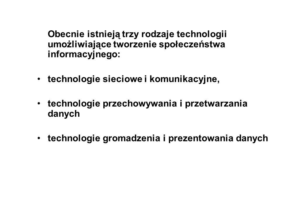 Obecnie istnieją trzy rodzaje technologii umożliwiające tworzenie społeczeństwa informacyjnego:
