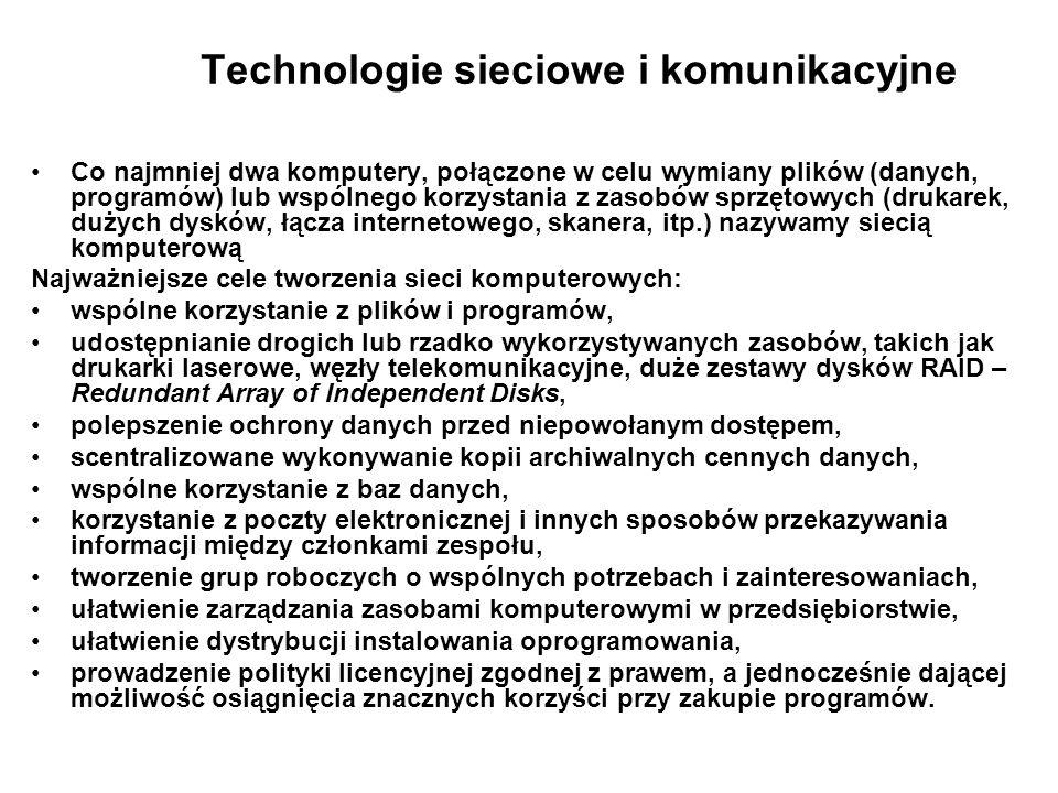 Technologie sieciowe i komunikacyjne