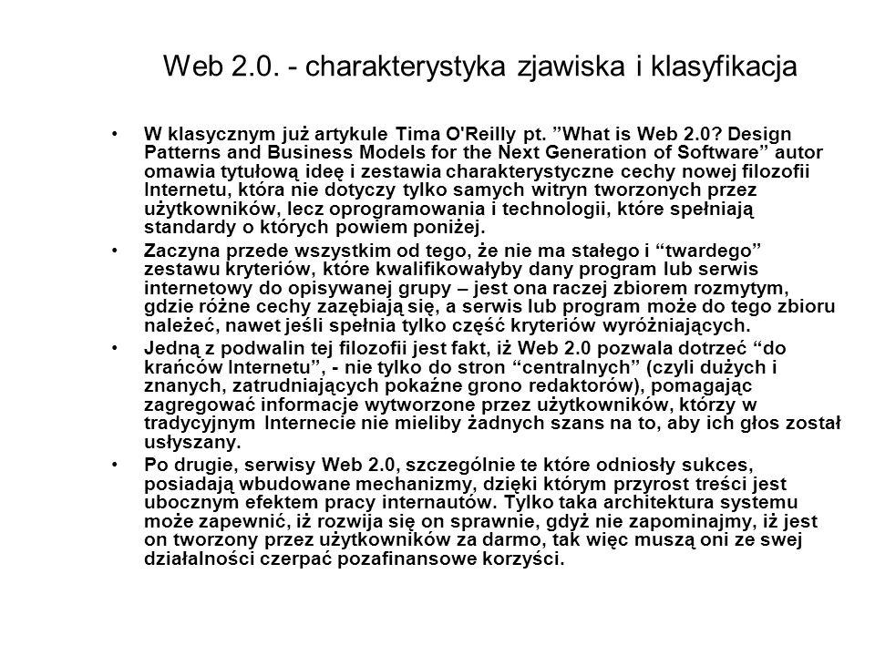 Web 2.0. - charakterystyka zjawiska i klasyfikacja