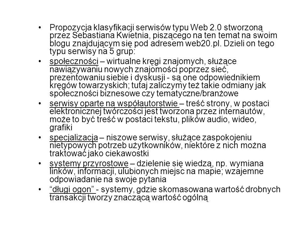 Propozycja klasyfikacji serwisów typu Web 2