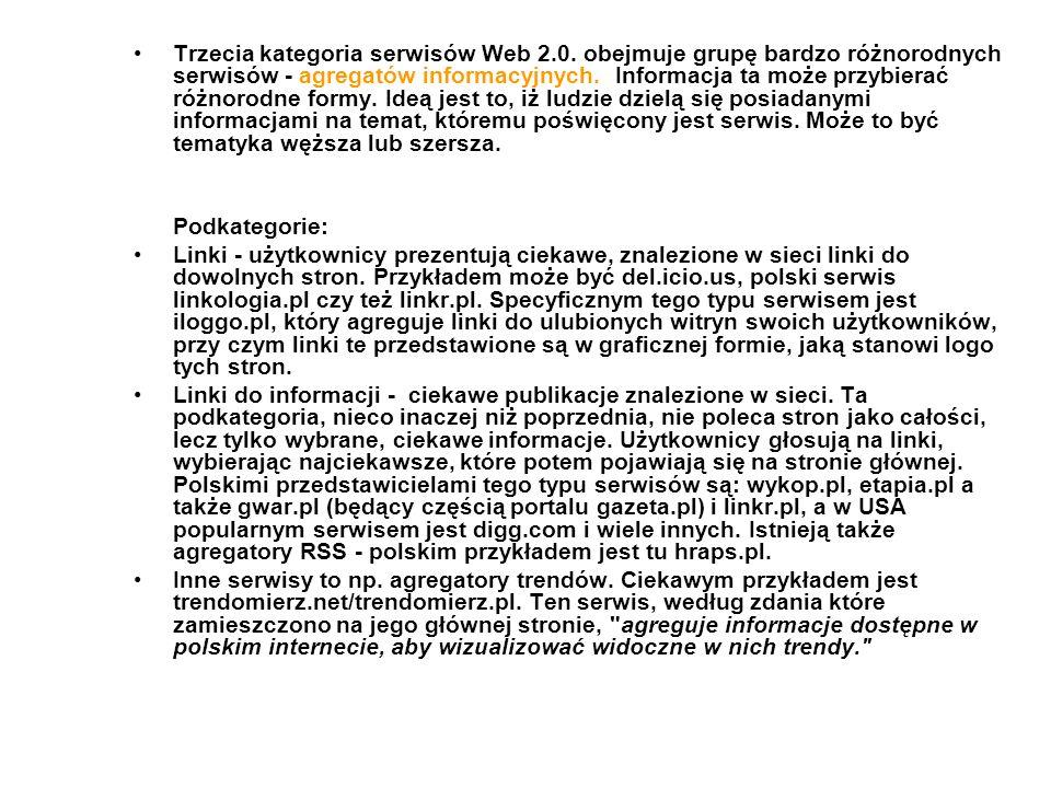Trzecia kategoria serwisów Web 2