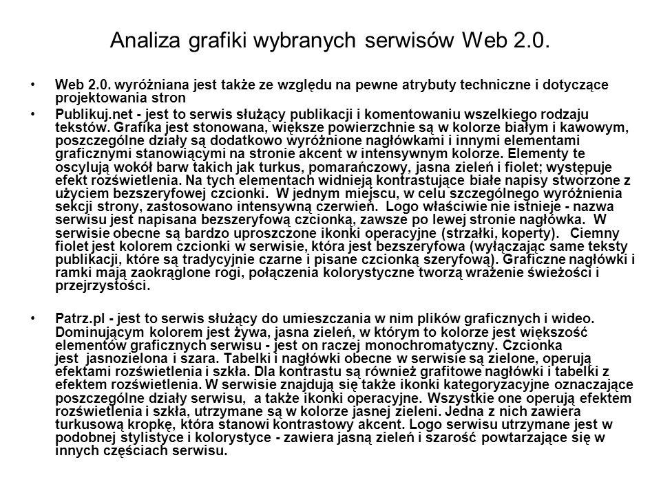 Analiza grafiki wybranych serwisów Web 2.0.