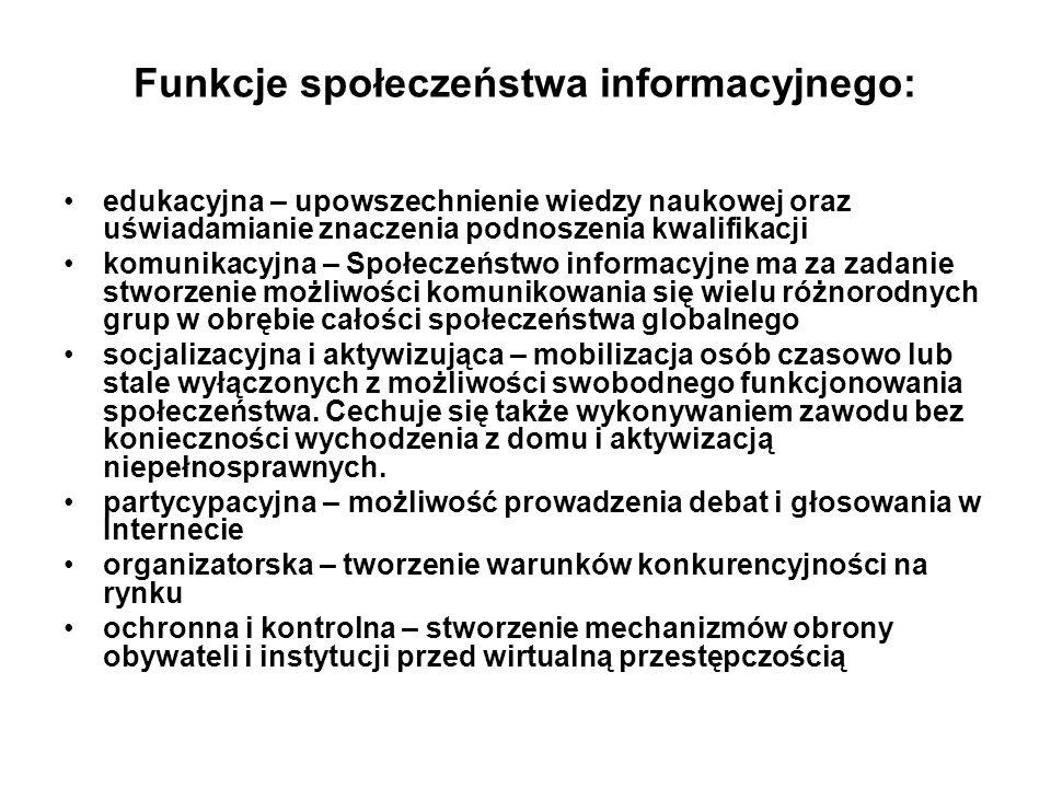 Funkcje społeczeństwa informacyjnego: