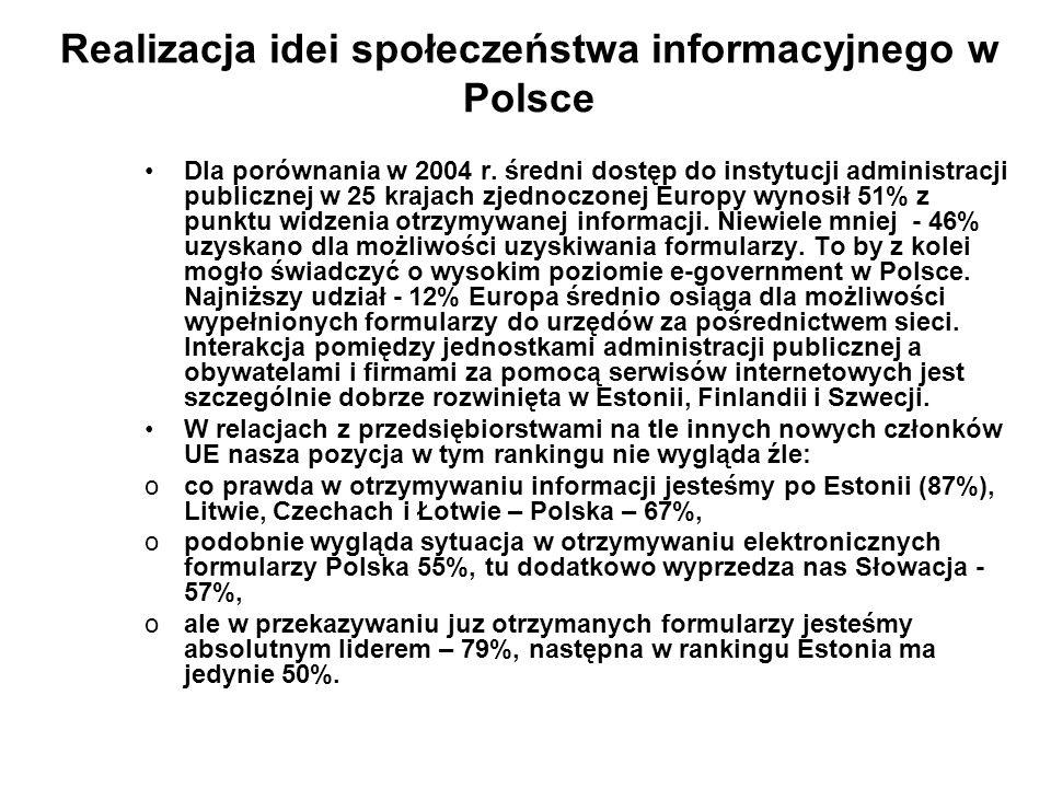 Realizacja idei społeczeństwa informacyjnego w Polsce
