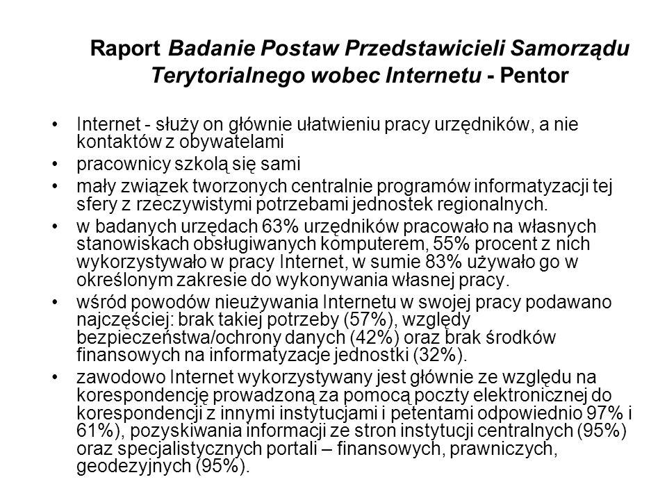 Raport Badanie Postaw Przedstawicieli Samorządu Terytorialnego wobec Internetu - Pentor