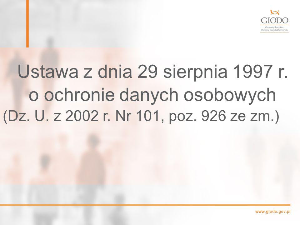 Ustawa z dnia 29 sierpnia 1997 r. o ochronie danych osobowych