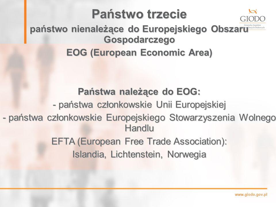 Państwo trzecie państwo nienależące do Europejskiego Obszaru Gospodarczego. EOG (European Economic Area)